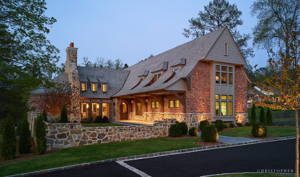 Country Estate Exterior Approach with Covered Walkway and Courtyard